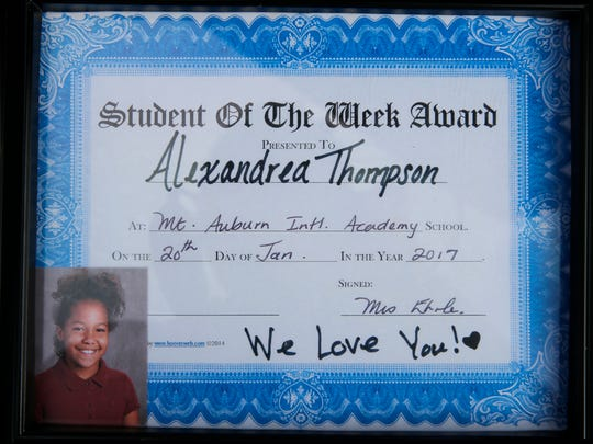 The student of the week certificate Alexandrea Thompson earned but never received becasue she was shot and killed  a couple of days prior.  Photo shot Wednesday February 8, 2017.