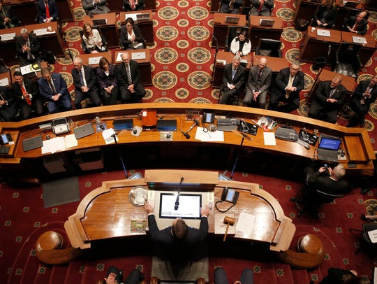 Missouri scored well on fiscal stability in a ranking of U.S. states by U.S. News and World report released Tuesday, Feb. 27. In this photo, Gov. Eric Greitens delivers the annual State of the State address to a joint session of the House and Senate, Wednesday, Jan. 10, 2018, in Jefferson City.