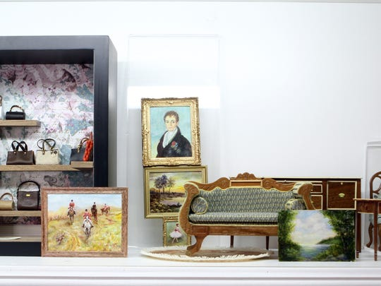 Miniature furniture, oil paintings, and contemporary