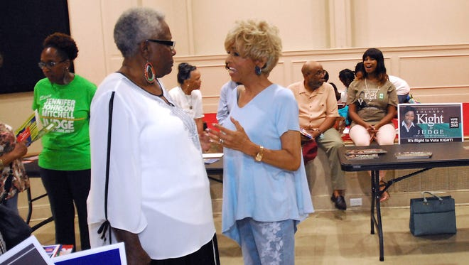 July 9, 2018 -  Juvenile court clerk candidate Janis Fullilove (right) chats with atendees during a recent election meet and greet. Fullilove, a Memphis City Council member, faces Bartlett alderman Bobby Simmons. (Stan Carroll/For the Commercial Appeal)
