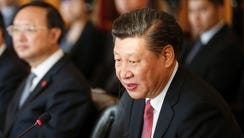 China's President Xi Jinping speaks during bilateral