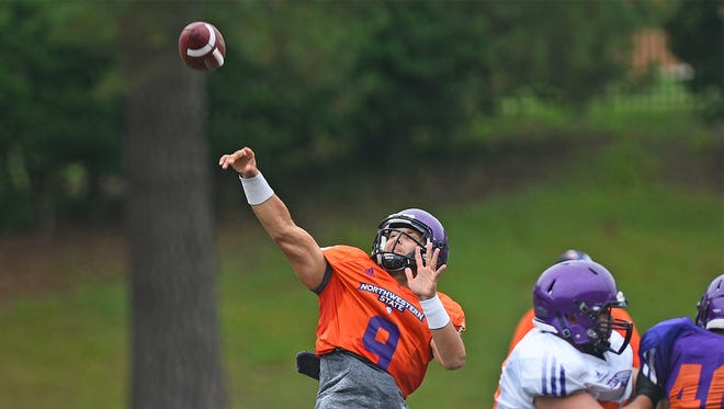 Northwestern State quarterback Brooks Haack throws a pass during Saturday's scrimmage.