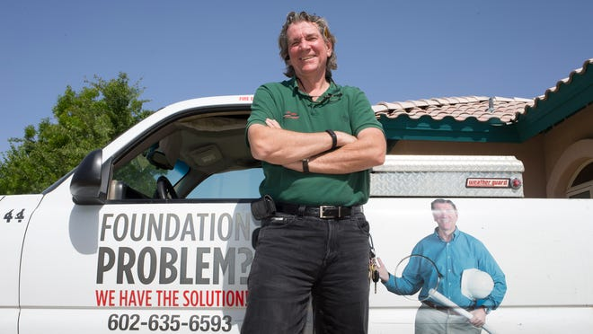 A portrait of Bob Brown, April 15, 2015, in one of his Arizona Foundation Solutions trucks.