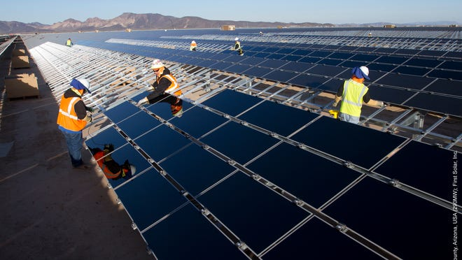 Solar panels from Tempe-based First Solar Inc. are installed at the Agua Caliente solar-power plant east of Yuma, Arizona