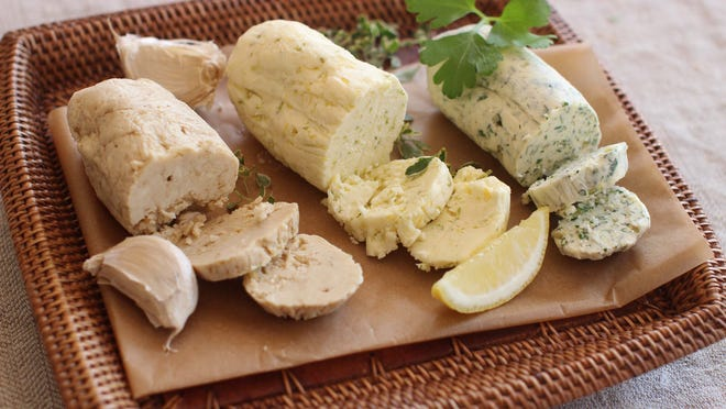 Herbs and citrus flavor butters.