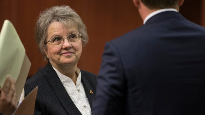State Superintendent of Public Instruction Diane Douglas (left) in Maricopa Country Superior Court, May 21, 2015, with her attorney Stephen Tully.