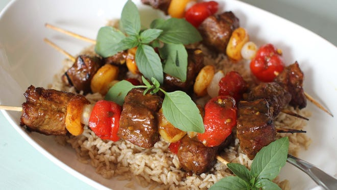 South African beef and apricot sosaties (kebabs).