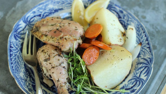 Weekend lemon chicken dinner in a bag is easy to put together and healthy.