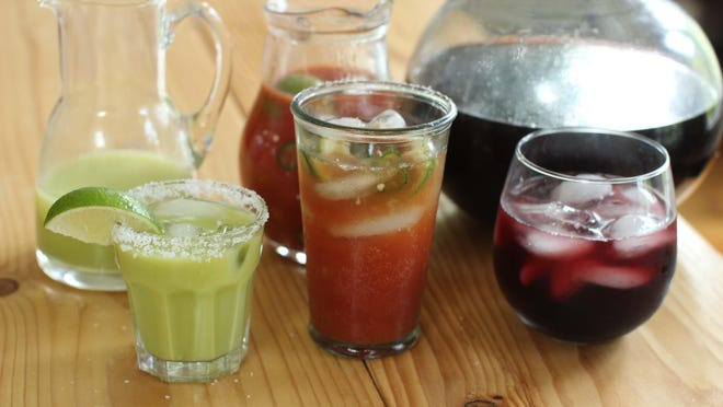 rom left, cilantro corn margaritas, micheladas and hibiscus coolers. These drinks are from recipes by Alison Ladman.