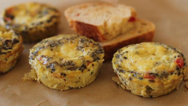 Southwestern Mini Frittatas is an Italian omelet, but one in which all of the add-ins (cheese, veggies, meat, rice, what have you) are mixed directly into the eggs (rather than folded into the center).
