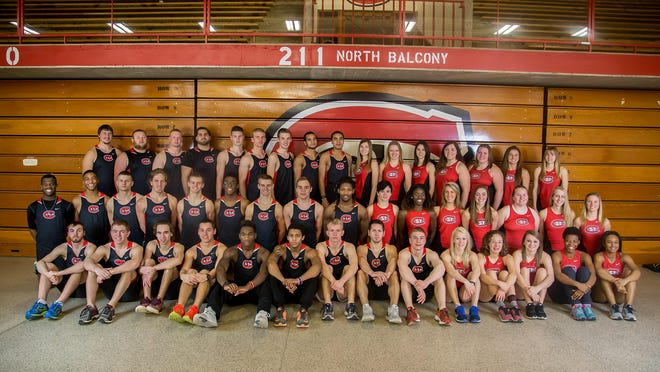 Members of the men's and women's track and field rosters at St. Cloud State University pose for a team picture last year.