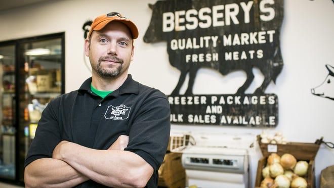 Bryan Bessery in the new Bessery's Butcher Shop in Burlington.