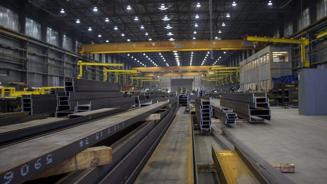 Steel arrives at the fabrication shop at ADF International in Great Falls in either beam or sheet form.