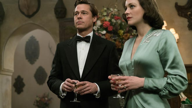 "Brad Pitt plays Max Vatan and Marion Cotillard plays Marianne Beausejour in ""Allied."""