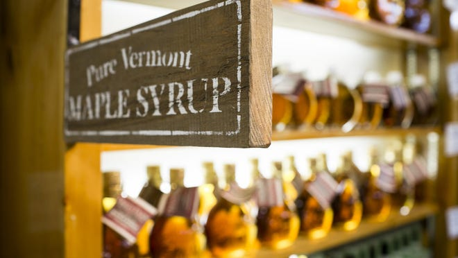 Maple syrup is displayed at Dakin Farm on U.S. 7 in Ferrisburgh.