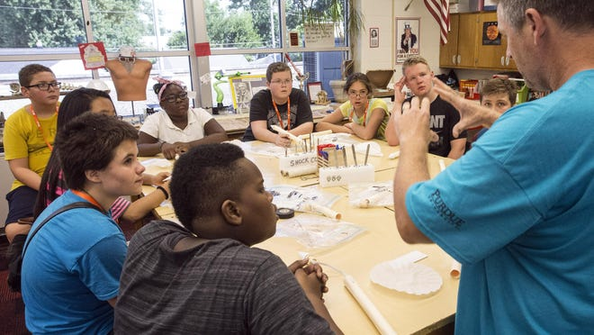 Students at the Gear Up STEM Enrichment Camp listen to Steve Tull as he provides instructions for rocket-building. 7/12/17