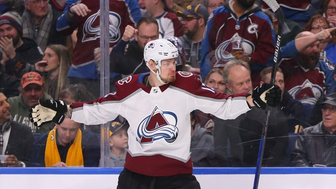 Colorado Avalanche forward Valeri Nichushkin celebrates his goal during the second period of the team's NHL hockey game against the Buffalo Sabres, Tuesday, Feb. 4, 2020, in Buffalo, N.Y. (AP Photo/Jeffrey T. Barnes)