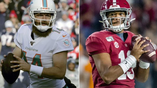 "Ryan Fitzpatrick (left) knows he's a ""placeholder"" for the Dolphins, holding down the QB role for eventual starter Tua Tagovailoa (right)."