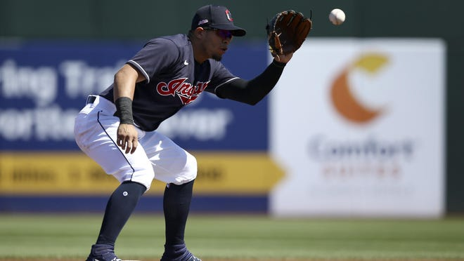 Indians second baseman Cesar Hernandez takes a throw down to second base prior to a spring training game against the Chicago Cubs in March.