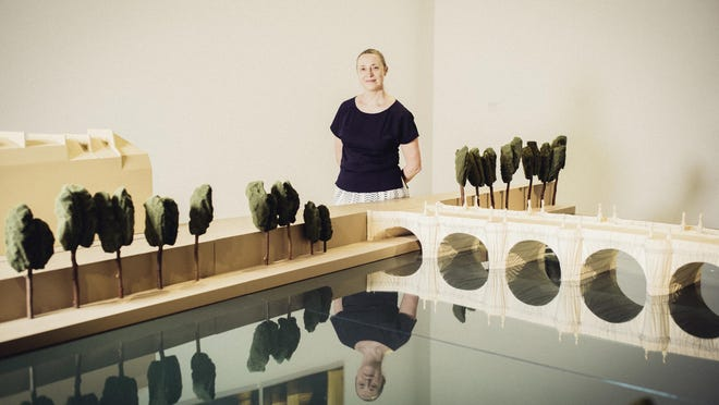 Sophie Duplaix, curator of the Pompidou exhibition, with a scale model of the Pont Neuf project, at the Pompidou Center in Paris.