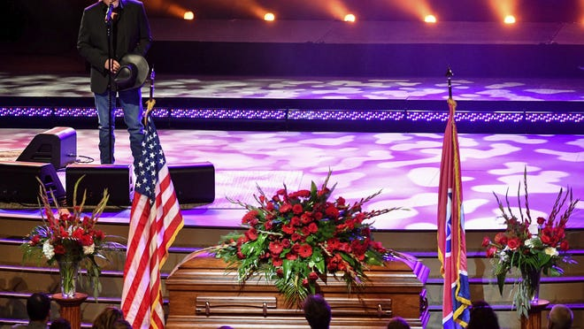 Trace Adkins performs during the funeral service for Charlie Daniels at World Outreach Church in Murfreesboro, Tenn., Friday, July 10, 2020. The Country Music Hall of Famer died Monday due to a hemorrhagic stroke.
