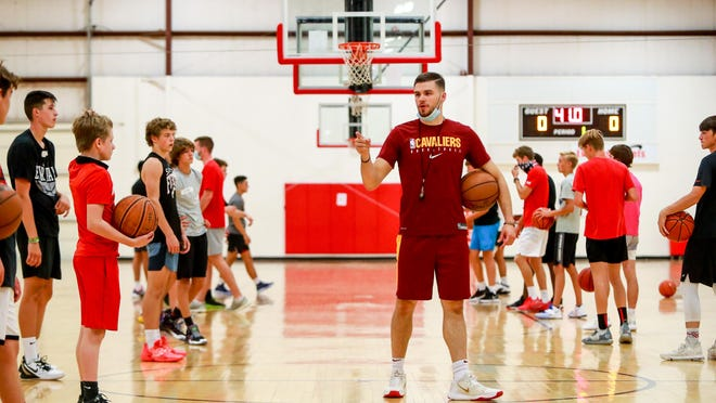 Matt Mooney gives instructions for a passing drill during the final session last year of the Matt Mooney Basketball Camp at the Apex Event Center. This year, the event will be held at the Lubbock Christian Recreation Center located at 2401 Eileen Blvd.
