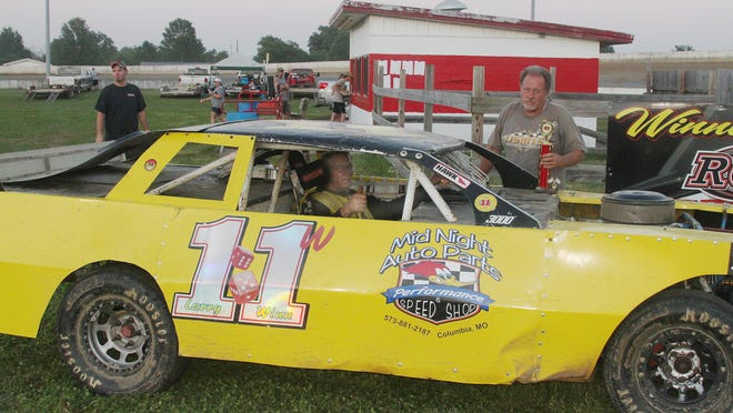 Larry Winn of Hallsville sits in his 1978 Monte Carlo and gives a thumbs-up after winning the Stock Car feature race Sunday, the 2020 season opening night at Randolph County Raceway in Moberly. Winn fought off second place driver Cody Agee of Huntsville and 10 other drivers to the finish line.