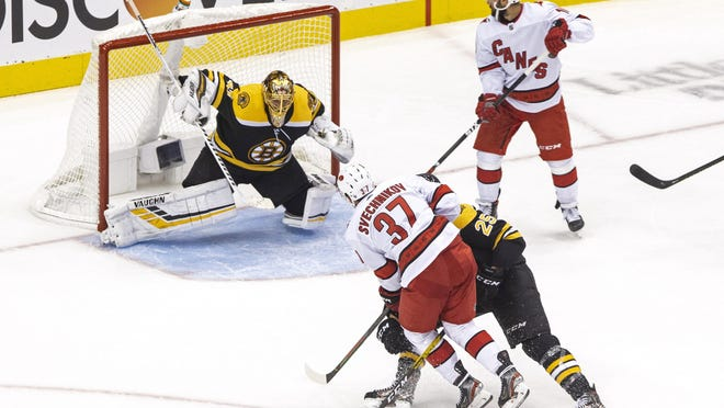 The Hurricanes' Andrei Svechnikov scores on  Bruins goaltender Tuukka Rask during the second period of Thursday night's Stanley Cup first-round playoff game. Carolina won, 3-2, and tied the series at a game apiece. Rask is likely to play in Game 3, coach Bruce Cassidy said Friday.