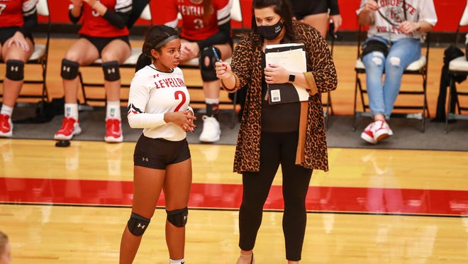 Levelland head coach Kayla Koerner talks with Mallary Blocker (2) during a non-district match Tuesday against Canyon at Levelland High School. The Loboettes fell to the Lady Eagles in three sets.