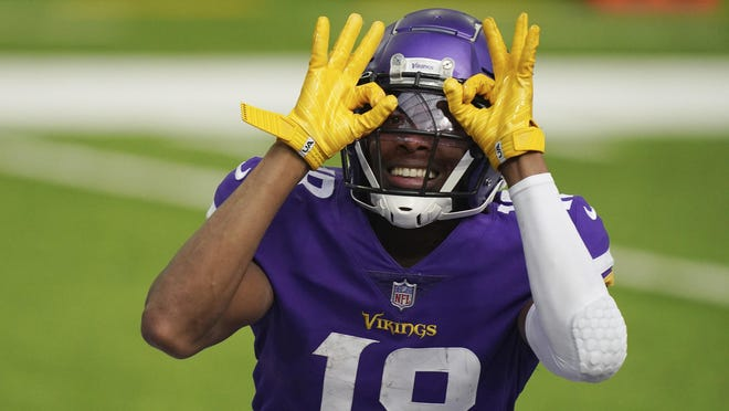 Minnesota wide receiver Justin Jefferson celebrates his first career touchdown catch Sunday. Tennessee defeated the Vikings 31-30, but Jefferson deserves a roster spot on fantasy teams.