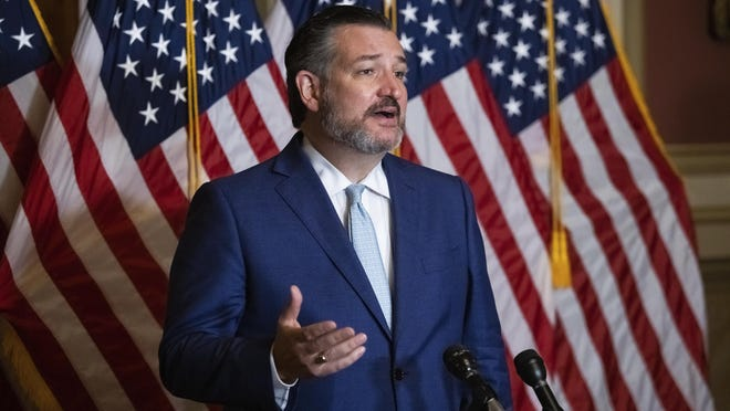 Sen. Ted Cruz, R-Texas, speaks during a news conference after the Senate voted to confirm Amy Coney Barrett to the Supreme Court, Monday, Oct. 26, 2020, in Washington. Barrett was confirmed by the Senate as the 115th justice to the Supreme Court.