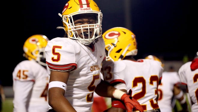 Clarke Central's Khyle Cowan (5) smiles after a recovering a fumble at Apalachee on Friday during the Gladiators' 28-0 win.