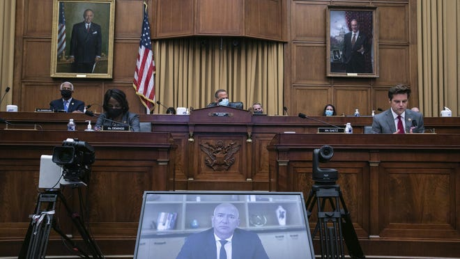 Amazon CEO Jeff Bezos speaks via video conference during a House Judiciary subcommittee hearing on antitrust on Capitol Hill on Wednesday, July 29, 2020, in Washington.