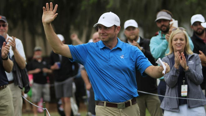 Dan McCarthy waves to the crowd after winning the Savannah Golf Championship at The Landings Club's Deer Creek Course on March 31, 2019. The tournament returns this week but without spectators due to the coronavirus pandemic.