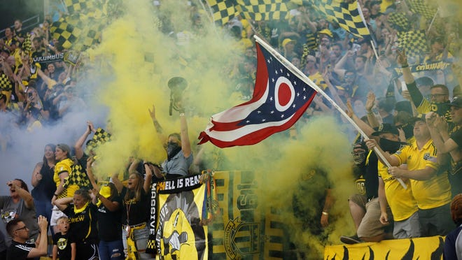 Columbus Crew SC supporters in the Nordecke cheer following a goal by forward Gyasi Zardes (11) during the first half of the MLS soccer match against the FC Cincinnati at Mapfre Stadium in Columbus on Saturday, Aug. 10, 2019.