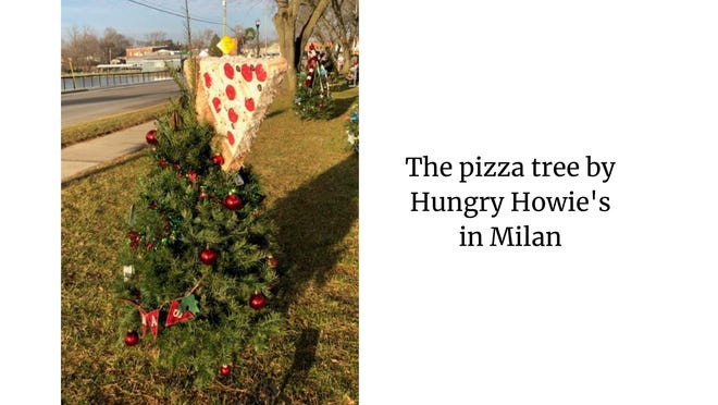 Whimsical pizza tree at Wilson Park provided by Hungry Howies.
