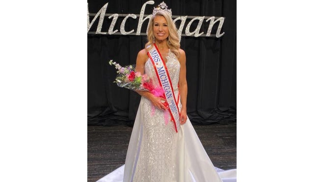 Stacey Bruss of Erie was crowned Mrs. Michigan America during a state competition held in March in Plainwell. She is participating in Saturday's Monroe Walk to End Alzheimer's.