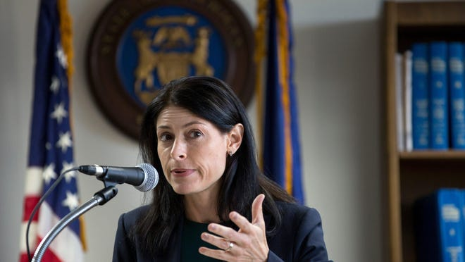 Michigan Attorney General Dana Nessel announces election fraud charges against Southfield City Clerk Sherikia L. Hawkins at the Department of Attorney General's office in Detroit, Mich., Monday, Sept. 23, 2019. Nessel's office announced the suspension of a Grand Haven psychologist's license based on an order from the Michigan Board of Psychology's Disciplinary Subcommittee.