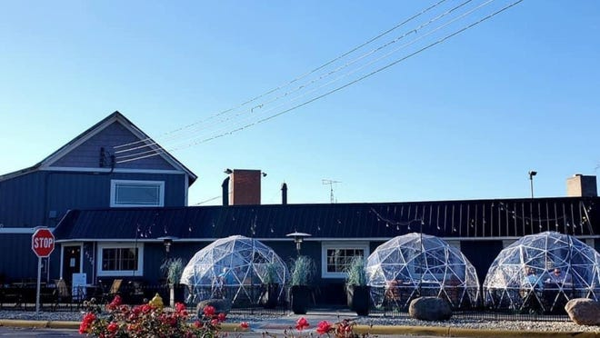 Chateau Louise Restaurant, 4320 Luna Pier Rd., Luna Pier, has installed outdoor heated and vented private igloos, so that groups of up to six can dine outdoors during the State of Michigan's indoor dining ban issued in response to the COVID-19 pandemic.