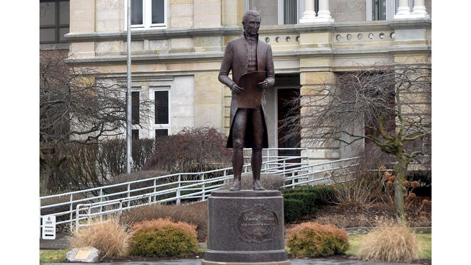 The President James Monroe statue in front of the Monroe County Courthouse is pictured.