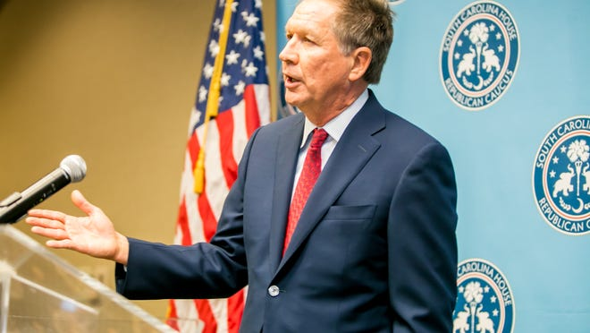 Ohio Governor John Kasich speaks to the South Carolina Republican House Caucus at the Hilton in Columbia, SC, last month.