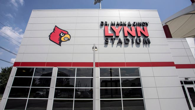 A front view of the new University of Louisville soccer stadium.