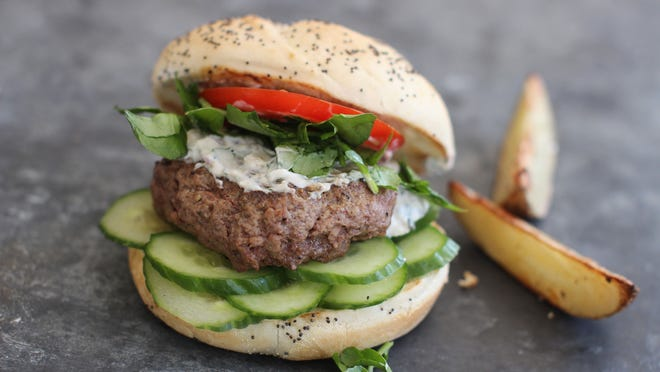 Lamb burgers with watercress and creamy mint sauce are a healthier alternative to beef.