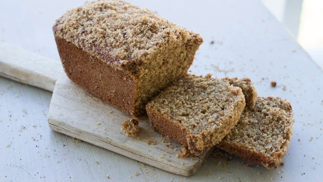 "This Sept. 8, 2014, photo shows sprouted wheat quick bread with streusel topping in Concord, N.H. Peter Reinhart's new book, ""Bread Revolution"" dives into the rising trends of sprouted and whole grains, as well as heirloom flours."