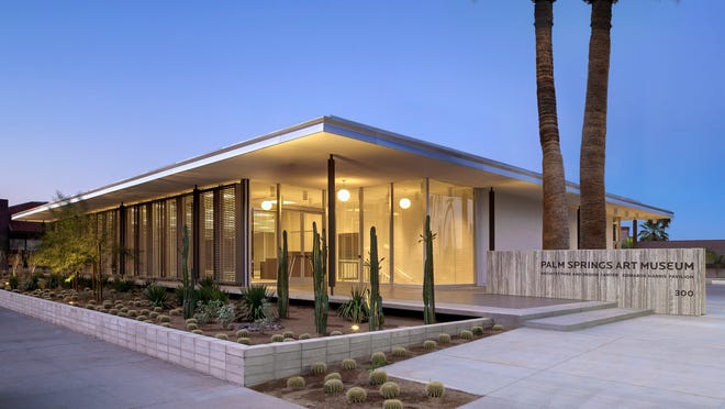 The glass and steel bank designed by E. Stewart Williams in 1961 is now known as the Edwards Harris Pavilion, which houses the Palm Springs Art Museum Architecture and Design Center.