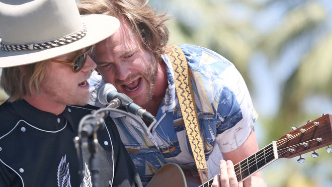Jamestown Revival performs at the Outdoor Theatre during the Coachella Valley Music and Arts Festival in Indio.