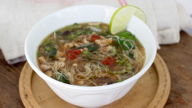 This quick Asian chicken noodle soup utilizes homemade chicken stock.