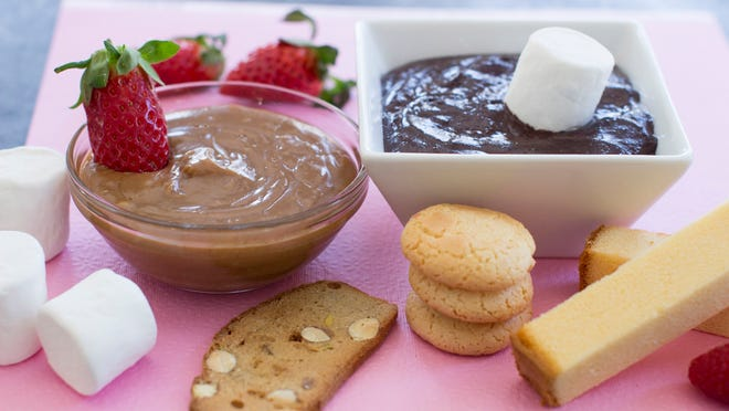 A fondue duo of chocolate mango and five spice caramel sauces makes great dipping sauces.
