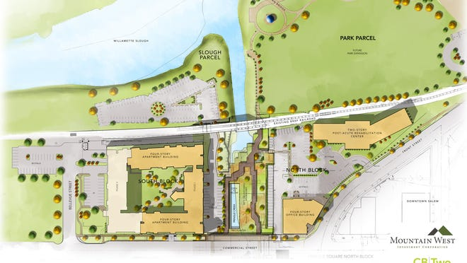 An artist rendering of the proposed Pringle Square Master Plan on the former Boise Cascade property in Salem.