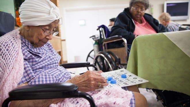 Residents gather to play bingo at Avante in Waynesboro on Sept. 24.